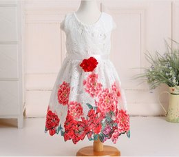 Wholesale Boutique Style Dresses Wholesale - New 2017 Children Big Girls Outwear Flower Rose Lace Dress Boutique Princess Lace Embrodery Flower Chinese Style Dress Pageant Dress Q0970