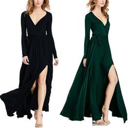 Wholesale Floor Panels - 2017 New Sexy Women Casual Basic Summer Dress Bandage Dresses Elegant V-neck Full Sleeve Open Fork Plus Size