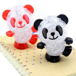 Wholesale 3d Crystal Jigsaw Puzzles - 3D Crystal Panda Puzzle Toys Kids Puzzle Jigsaw Model DIY Panda Intellectual Toy Furnish Gadget for Children Gift
