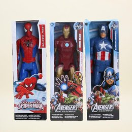 Wholesale Action Figure Heroes - 30CM The avengers super Heroes Captain America spider man iron man PVC Action Figure Toy free shipping