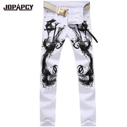 Wholesale Chinese White Coat - Wholesale-high quality fashion White Printed Casual hip hop rock Jeans men denim pants Straight Homme Men's Trousers Upscak Hombre MYA0179
