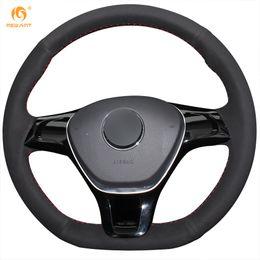 Wholesale Black Vw Polo - Mewant Black Suede Car Steering Wheel Cover for Volkswagen VW Golf 7 Mk7 New Polo Jetta Passat B8 Tiguan Sharan Touran Up