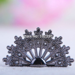 Wholesale Peacock Place Cards - wedding peacock seat clips seating name place Table Name Card Clip Party Seat Holder Reception Favor Table Decoration S2017109