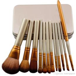 Wholesale Professional Facial Brush Free Shipping - Free shipping Brand brush with logo Professional 12 PCS Cosmetic Facial Make up Brush Tools Makeup Brushes Set Kit With Retail Box