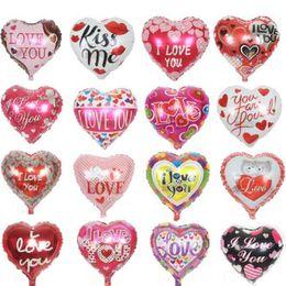 Wholesale Heart Shape Balloon Decoration - 10pcs lot 18'' I LOVE YOU Balloons Valentine day Wedding Decorations Party Supplies Heart shape Love Foil Balloons Globos