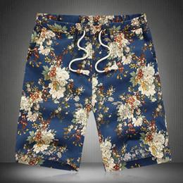 Wholesale Knee Length Linen Trousers Mens - Wholesale-Free Shipping Blue Vintage Elastic Waist Shorts Mens Summer Plus Size M-6XL Causal Linen Bottoms Male Wear Floral Cargo Trousers