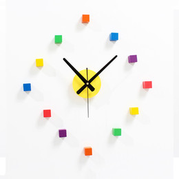 Wholesale New Decorative Walls - Creative Abstruct Wall Clock Colorful Square Clocks DIY Wooden decorative wall clock Modern Wall Murals Gifts for New Home Luxury Diy Clock