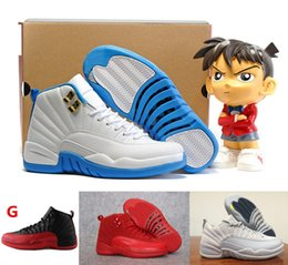 Wholesale Play French Games - retro 12 master french gamma blue play off flu game men women new black white size 13 Michael Boy First Walkers shoes