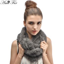 Wholesale Rex Rabbit Fur Wrap - Wholesale- Hot Sale Women Warm Genuine Real Rabbit Fur Scarf Handmade Real Rex Rabbit Fur Ring Scarves Female Natural Knitted Real Fur Wrap