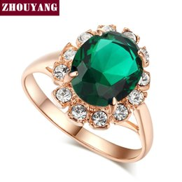 Wholesale Created Emerald Jewelry - ZHOUYANG Top Quality Rose Gold Plated Created Emerald Finger Rings Elegant Brand Jewelry CZ Austrian Crystal For Women R088