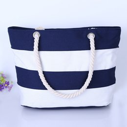 Wholesale Wholesale Designer Hand Bags - Red & While Patchwork Fashion Totes Bags Hand Bag For Women Brand Designer Wholesale Canvas Stripes Tote Bag Best Quality Freeshipping
