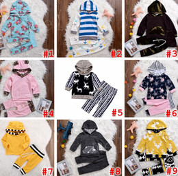 Wholesale zebra winter coat - INS XMAS Spring Children Boys Girls Striped 2pc set Hooded outfits infant leopard chevron floral coat tshirt & girls boys striped short pant
