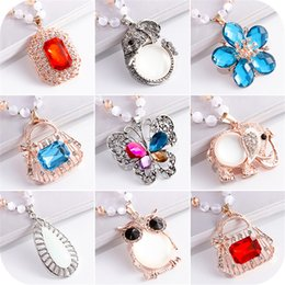 Wholesale Stocking Female - (In stock)winter fashion sweater chain all-match Crystal Necklace female pendant pendant jewelry and accessories