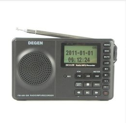 Wholesale Degen Sw Radio - Wholesale-English Version DEGEN DE1129 Radio FM MW SW Radio Multiband Portable Intelligent LED STEREO Radio DSP Receiver MP3 Player 3 Band