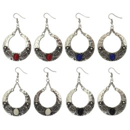 Wholesale Antique Fish Plates - idealway 4 Color Antique Silver Plated Big Circle Round Gemstones Dangle Fish Hook Earrings 12Pairs lot