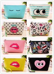 Wholesale Cute Fashion Handbags - NEWEST Make Up Bag Modern girl PU Fashion Handbags Cosmetic Bags Cute Casual Travel Bags Fullprint Makeup Bags