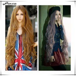 Wholesale Cosplay Lolita Wigs White - Harajuku Lolita Wig High Quality Taro Anime Cosplay Halloween Party Female Peruca Brown Long Wavy Curly Synthetic Wig Drag Queen Cosplay wom