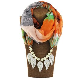 Wholesale Voile Scarves - 2017 voile scarf multi section leaves pendant necklace section multicolor collar ethnic choker Scarf jewelry women wholesale free shipping