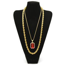 """Wholesale Long Set Chain - Men's Hip hop Jewelry Set 30"""" Long Rope Chain Necklace With Square Ruby Blue Rhinestone Crystal Pendant Necklace Set"""