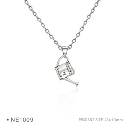 Wholesale Tin Water Pots - Watering Pot Pendant Charms Fashion Antique Silver Bronze Pendant 3D Plated Collar Body Chain Necklaces for Women Girls Boys Jewelry
