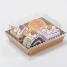 2019 emballage de boîte à sandwich Boîtes d'emballage de gâteaux Hotdog Cake Sandwich Box Salade avec couvercles transparents Boîte cadeau en carton Kraft ZA3885 emballage de boîte à sandwich pas cher