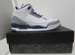Wholesale Mens C - Retro 3 TRUE BLUE Men Basketball Shoes high quality 3s Sports Sneakers mens shoe With Shoes Box
