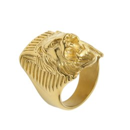 Wholesale Lion Rings Women - Retro Stainless Steel Vintage African Roaring Lion King Face Lion Head Ring Men Women Gold Jewelry Christmas Gift