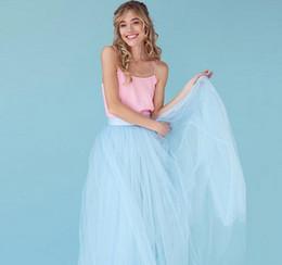 Por encargo Modest Sky Blue Tulle Falda Hasta el suelo Falda larga Maxi  Faldas de alta calidad Mujeres falda de la boda de la dama de honor 351e0d469b8d