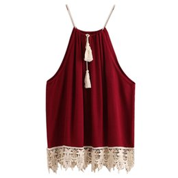 Wholesale Sexy Cami Plus Size - Wholesale-Woman Sexy Spaghetti Strap Tank Top Summer 2016 Backless Lace Trimmed Tasselled Drawstring Neck Camisole Plus Size Cami Tank