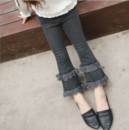 Wholesale Skinny Jeans Korean Style - Girls Jeans for Kids Clothing 2017 Spring Tassels Flare Trouser Denim Korean Fashion Girls Pants EC-464