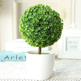 Wholesale Indoor Potted Trees - 2PCS MOQ FREE SHIPPING Elagant Purple Artificial Flower Pot Plant Lucky Tree&Ball For Wedding Birthday Party Indoor Topiary Table Decoration