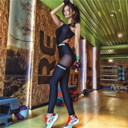 Wholesale Cutting Letter - Wholesale- mesh bodysuit women fitness jumpsuit hollow out open back female backless sexy work out workout excise sportwear cut out P1156Y