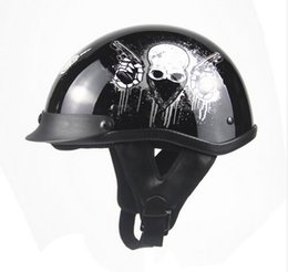 Wholesale Dot Approved - Wholesale- Dot approved Helmet Motorcycle Engine Open face means Personality Retro Vintage Vespa Scooter motorcycle Skull Helmet
