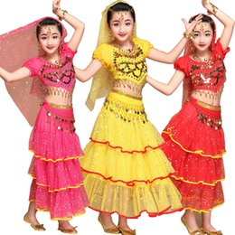 Wholesale Dancing Costumes Kids - 3 pieces Children Belly Dance Costumes Kids Belly Dancing Girls Bollywood Indian Performance Cloth Whole Set Stage wear costumes