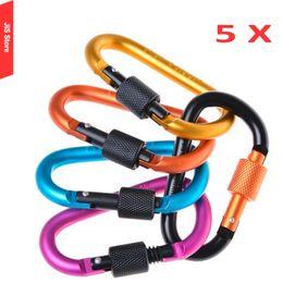 Wholesale Quick Release Hooks - Wholesale-Carabiner Hook Mosquetao Multicolors 8cm D-shaped Aluminum alloy Flat Small Hiking Quick Release Carabin Small Karabiner