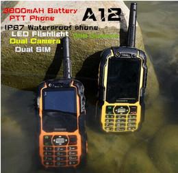 Wholesale Digital Lcd Color Tv - IP67 Rugged Waterproof Mobile phone Shockproof Walkie Talkie Radio PTT A12 LCD GSM Senior old man cell phone Dual sim S6 sonim