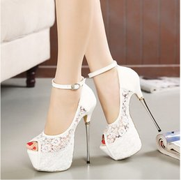 Wholesale Cut Up Prom Dresses - Bridal White Lace Wedding Shoes Designer Shoes Ankle Strap 16CM Sexy Super High Heels prom dress shoes