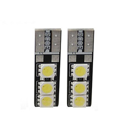 Wholesale Led Brake Indicator Lights - 10 PCS T10 5050 W5W 6SMD Canbus Error Free Double Sides Car Auto LED Lights Bulb License Plate Light Indicator Light Parking