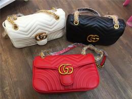 Wholesale Long Chain Handbags - 2017Vintage Handbags Women G bags chain single shoulder Designer handbags wallet for women fashion sheepskin leather chain bag shoulder bags