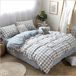 Wholesale Wholesale Quilt Supplies - high qualily plaid concise wosingmyeon bedding supplies quilt cover