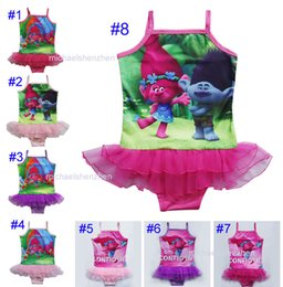 Wholesale Girl Swim Lace - Free DHL 8 Style Girls Trolls One-Pieces grenadine Lace Swimsuit children cartoon trolls sling baby swimming suit 3~9years B001
