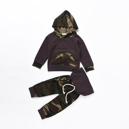 Wholesale Hooded T Shirt Pants - 2017 Bebe Hooded Jumper T-shirts with Pants Children's Spring Camouflage Sets Babies Fashion Casual Outfits Kids clothing