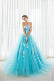 Wholesale Big Girls Evening Dresses - 2017 Appliques Quinceanera Dresses Sweet 15 Ball Gowns Floor Length Blue Fashion Women Big Girls Catwalk Celebrity Prom Dance Party Gowns