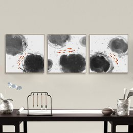 Wholesale Triptych Painting Abstract - Modern Abstract Oriental Chinese Ink Fish Canvas Print Poster Triptych Big Wall Art Picture Painting No Frame Vintage Home Decor