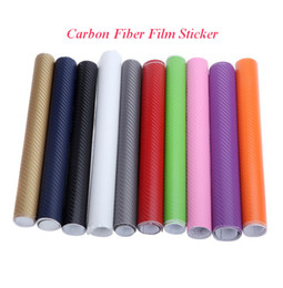 Wholesale Membranes Types - Wholesale 3D Carbon Sticker Car Fiber Film 127*30CM Car Body Decoration Carbon fiber Membrane Purple Orange Blue White ATP102