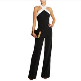 Wholesale Organic Back - New Design Women's Casual Sleeveless Jumpsuits Cross Top Neck Tank Top Wide Leg Long Pants Playsuits Back Zipper Casual Bodysuits 3406
