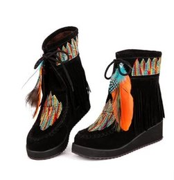 Wholesale Women Custom Motorcycles - New folk-custom embroidered Thick bottom Waterproof platform Slope with Woman Tassel snow boots