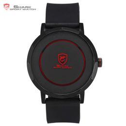 Wholesale Mens Wrist Watch Quartz Shark - Dusky Shark Sport Watch Red Black Waterproof Simple Round Rotate Display Reloj Hombre Rubber Band Mens Quartz Wrist Watch  SH512