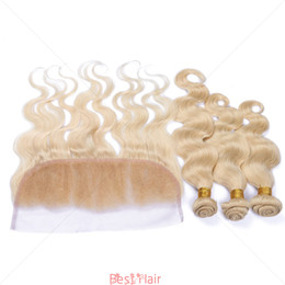 Wholesale Golden Blonde Hair Extensions - #613 Golden Blonde Russian Human Hair Weaves With Frontal Body Wave Blonde 13x4 Full Lace Frontal With 3 Bundles Extensions 4Pcs Lot
