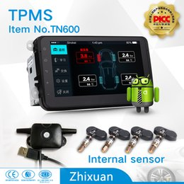 Wholesale Tpms For Car Dvd - hot sales auto parts tpms tyre pressure monitoring system with 4internal sensors USB connect android 4.0 car DVD navigation test tire states